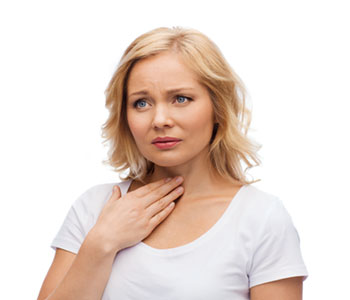 A women touching her neck from discomfort of dysphonia symptoms-SL Hunter Speechworks