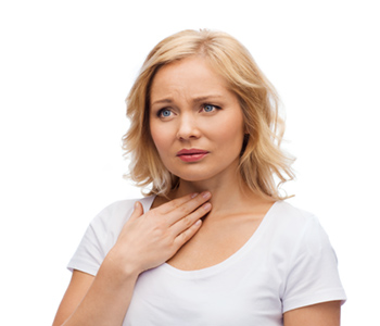 women touching her throat from vocal nodules-SL Hunter Speechworks